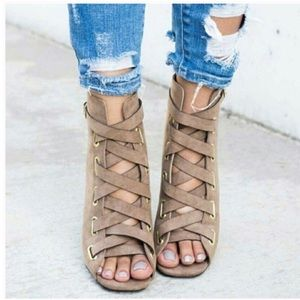 New Arrival-  Vegan Suede Ankle Booties, Heels